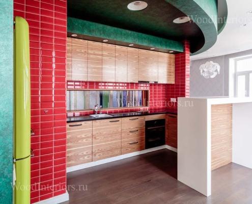 Отделка квартиры деревом. Кухня. Фото1