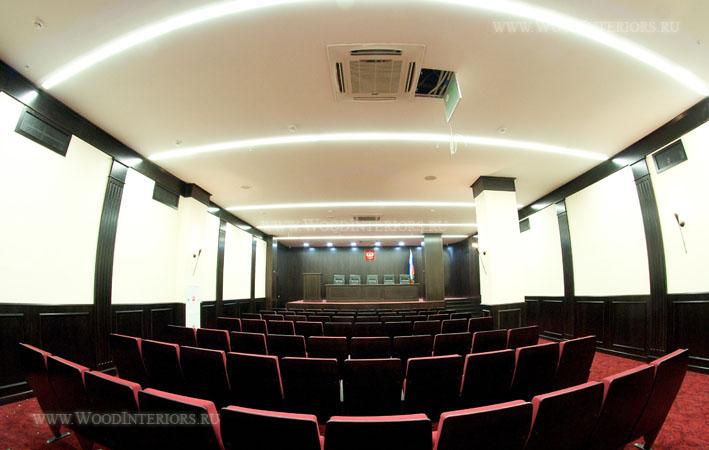 Деревянный интерьер конференц-зала. Фото1
