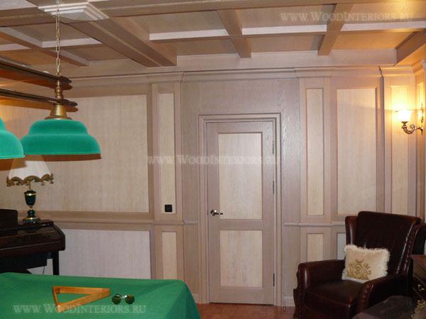 Деревянный интерьер бильярдной в частном доме. Фото2