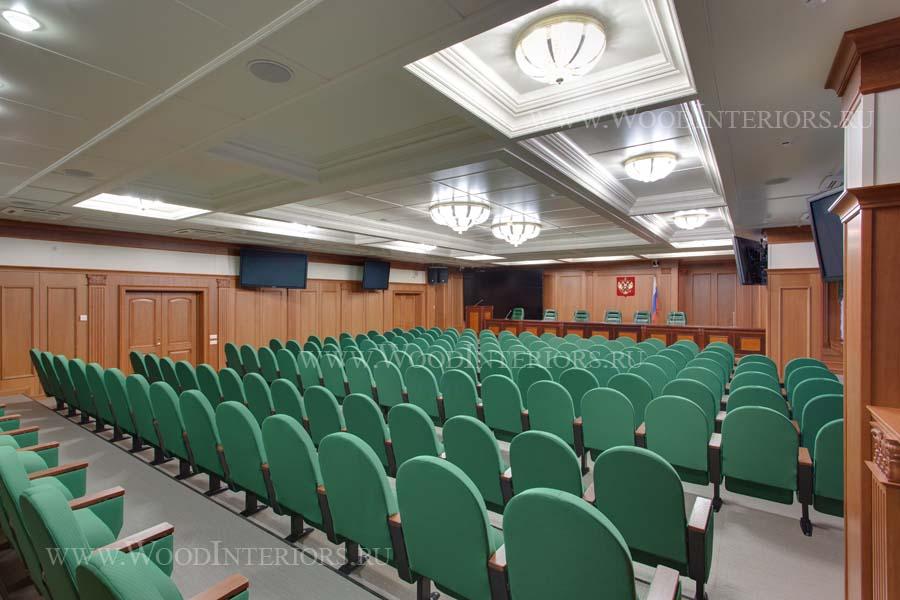 Деревянный интерьер зала конференций. Фото4