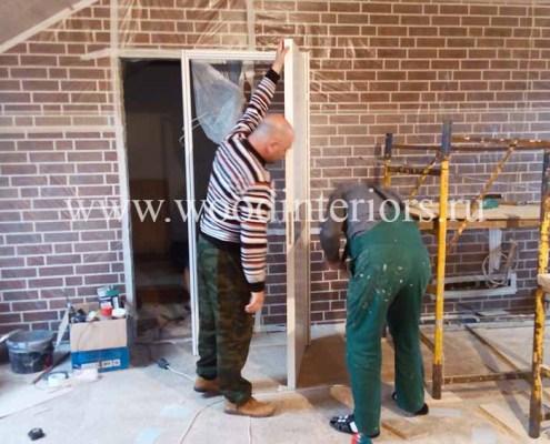 Деревянные двери на заказ. Монтаж 1