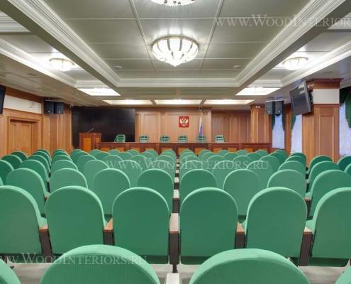 Деревянные стеновые панели в инетрьере зала конференций. Фото 5