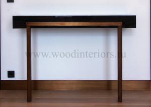 Мебель из дерева и латуни. Глянцевая консоль в спальне 2. Староконюшенный