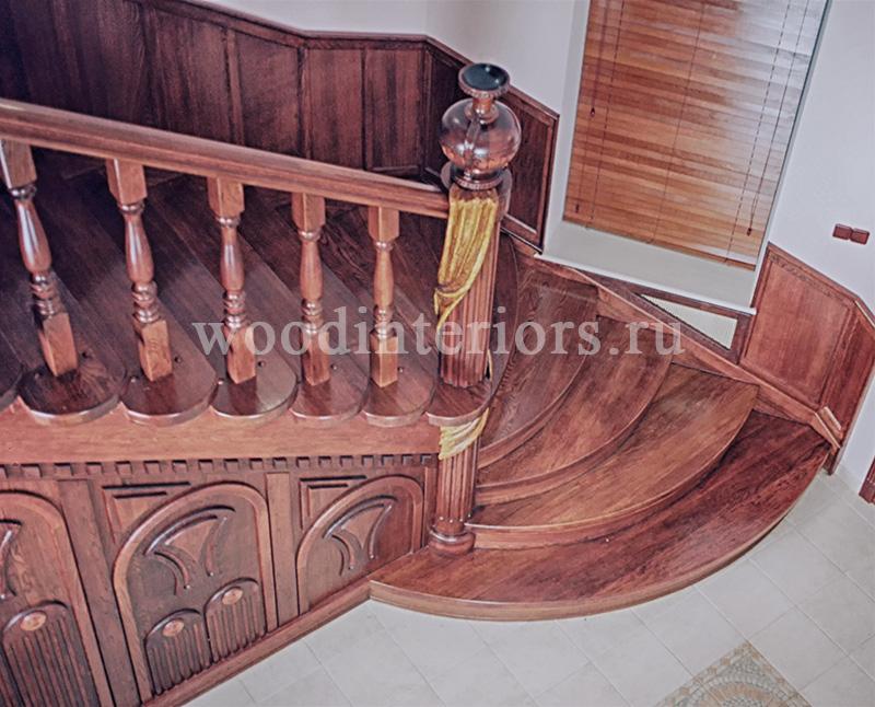Деревянная лестница на заказ. Отделка бетонной лестницы деревом. Малаховка