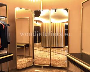 Зеркало из латуни трехстворчатое трельяжное