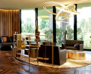 Мебель из латуни и дерева. Стеллаж в кабинет