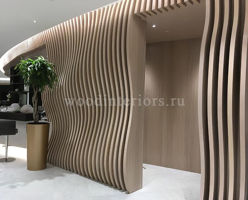 Волнистые 3D реечные стеновые панели. Терминал Шереметьево VIP. 1325