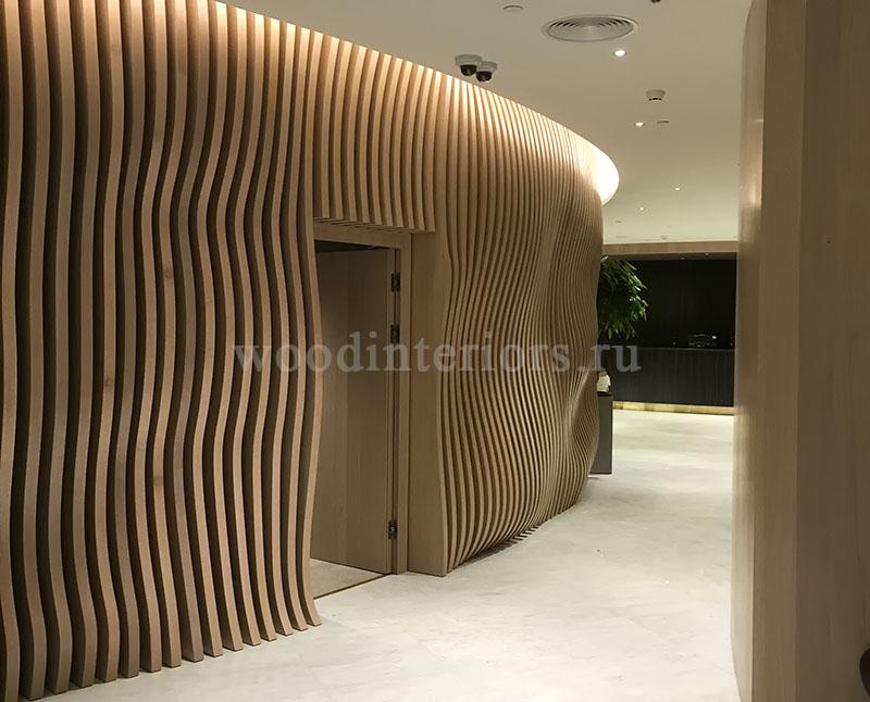 Волнистые 3D реечные стеновые панели. Терминал Шереметьево VIP. 1335