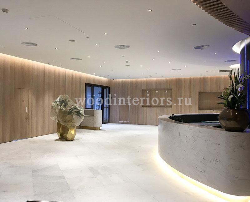 Шпонированые деревянные стеновые панели. Терминал Шереметьево-VIP 1254